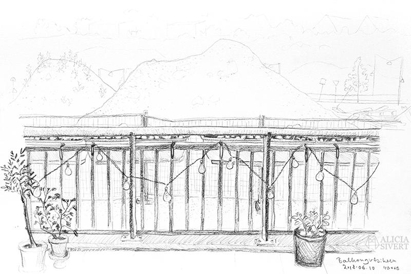 Teckningsutmaningen i juni, foto av Alicia Sivertsson. aliciasivert teckning teckningar teckna skiss skissa rita skapa skapande utmaning kreativitet skaparutmaning bloggutmaning månadsutmaning kreativ penna pennor blyertspennor blyertspenna utsikt balkong gustavsberg