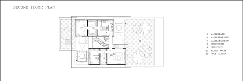Second floor plan of an Amazing home with impressive green roof, Singapore