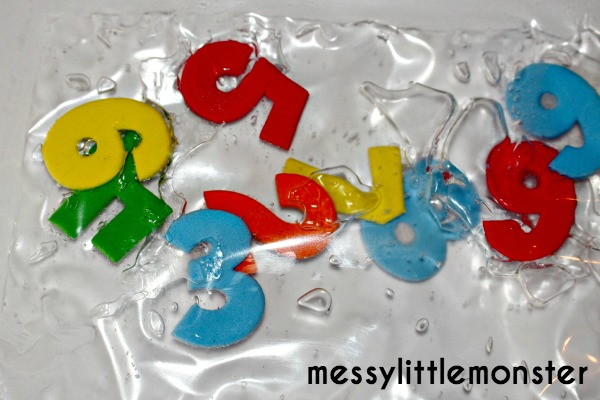 number sensory bag for toddlers made from laminator pouch and hair gel