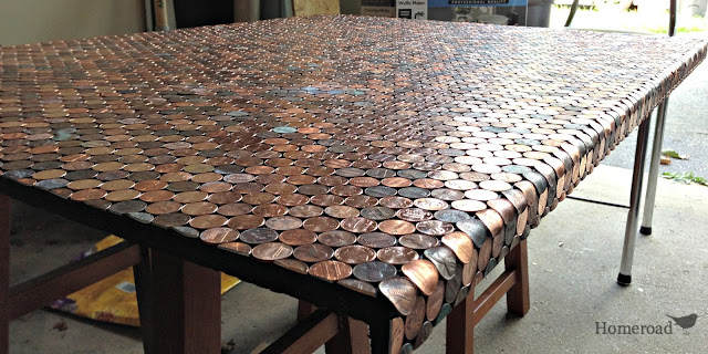 Desk made out of pennies