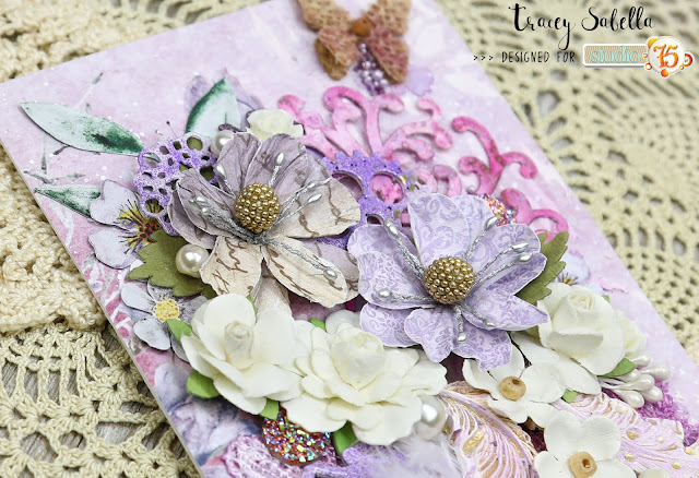 Thinking of You Mixed Media Card by Tracey Sabella for Studio75: #studio75 #traceysabella #violetlove #miszmasz #littlebirdiecrafts #acmoore #littlebirdieonline #handmadeflowers #prima  #timholtz #bluefernstudios #prills #usartquest #stampendous #lace #lindysgang #lindysstampgang #rangerink #icedenamels #mgrahamwatercolor #aall&create #creativepaperclay #helmar #mixedmedia #shabbychic #spring #springisintheair #card #cards #handmadecard #diycard #diy #handcraftedcard #mixedmediacard #shabbychiccard