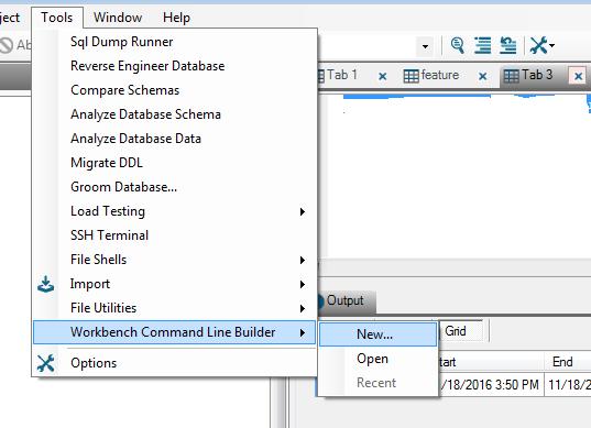 Workbench Command Line Builder Aginity Workbench Command Line