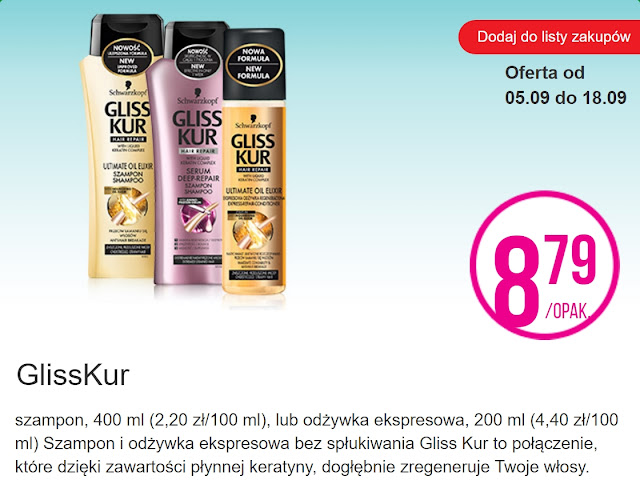 Gliss Kur, szampon i odżywka do włosów - Biedronka, promocja