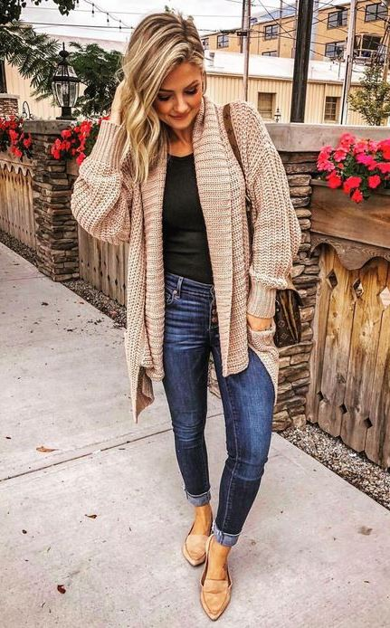 outfit of the dy   knit cardigan + skinny jeans + nude loafers + tee + bag