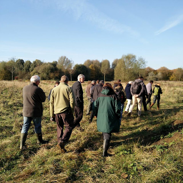 Members of Peterborough Nature Partnership walk across Thorpe Meadows