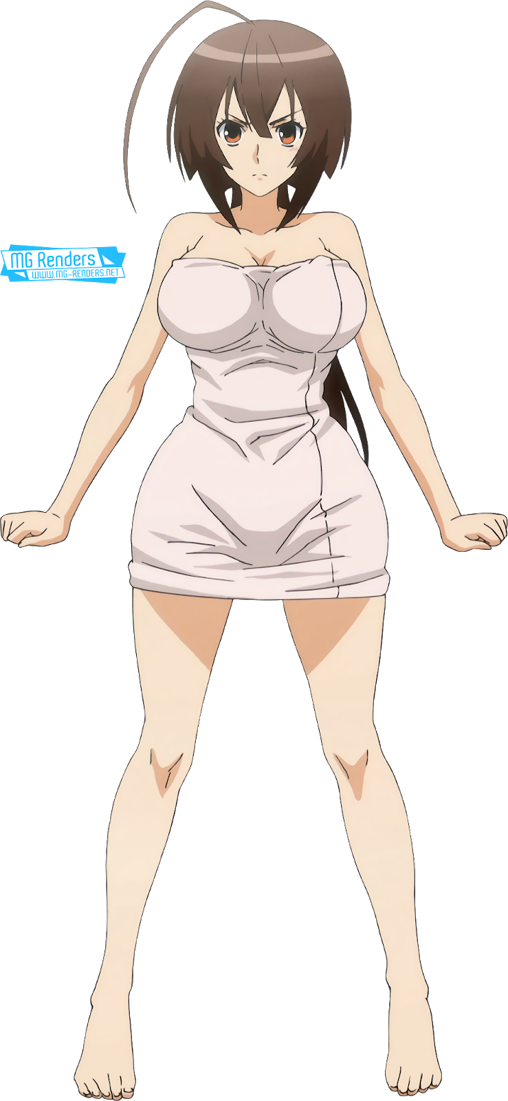 Tags: Anime, Render,  Bare legs,  Feet,  Full body,  Huge Breasts,  Musubi,  Sekirei,  Towel, PNG, Image, Picture