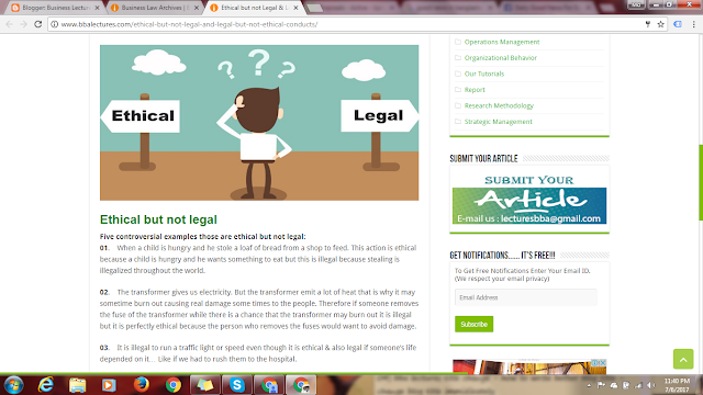 Ethical but not Legal and Legal but not Ethical Conducts