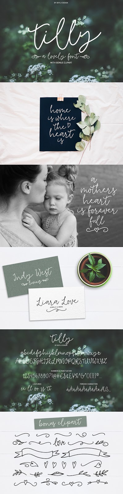 Tilly, a lovely romantic cursive font with bonus clipart