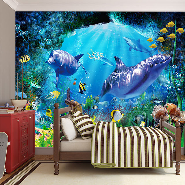 Wall murals for kids room Undersea dolphins aquarium SeaWorld 3d Wallpaper Cartoon Cute Child kids children s room bedroom