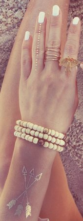 Gold Rings, Bracelet with Arrow Flash Tattoo