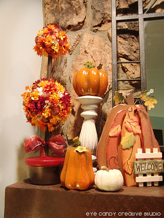 fall flower topiary, pumpkins, welcome sign, fall mantel decor, decorating for fall