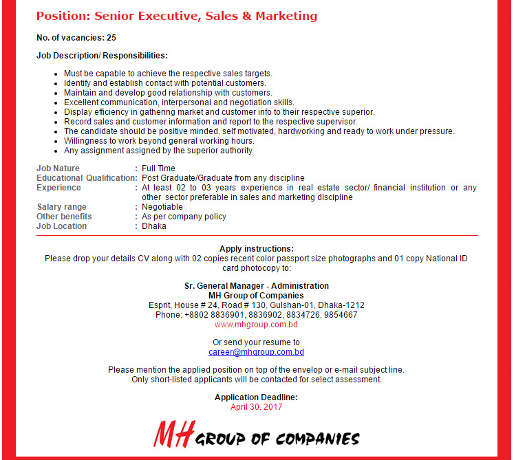 MH Group of Companies - Senior Executive, Sales & Marketing - Job