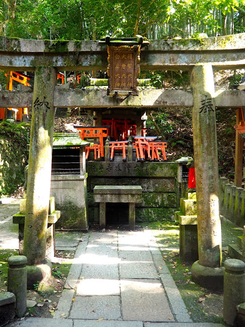 Mountain trail shrine at Fushimi Inari Taisha Shrine, Kyoto, Japan