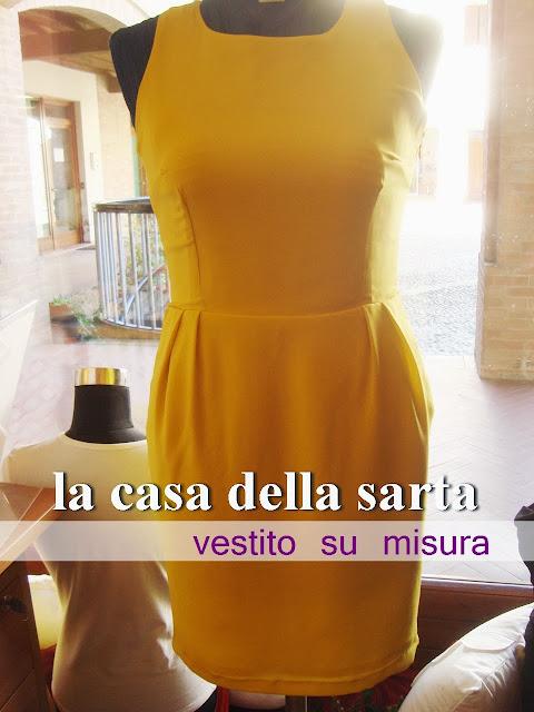 vestito crepe giallo su misura