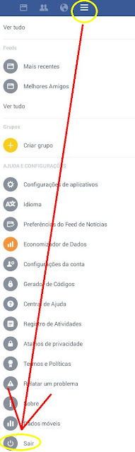 Como desconectar do app do Face