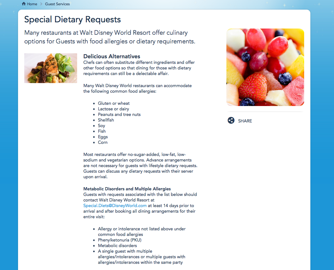 Disney Devoted Allergy Friendly Menus Now Available