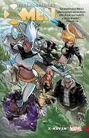 """Extraordinary XMEN"" at top; art of six superheroes flying in sky in action poses."