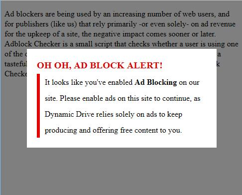 Aggressive Adblock Notifier Modal