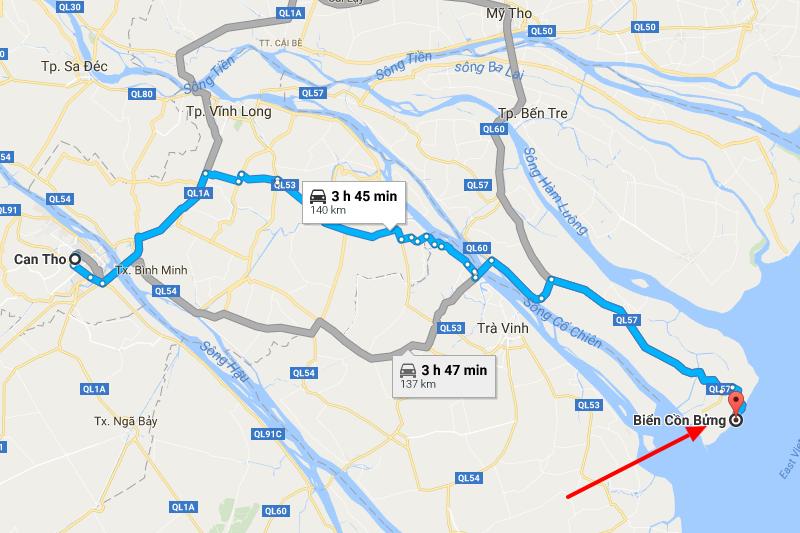 Từ Cần Thơ đến Cồn Bửng 140km