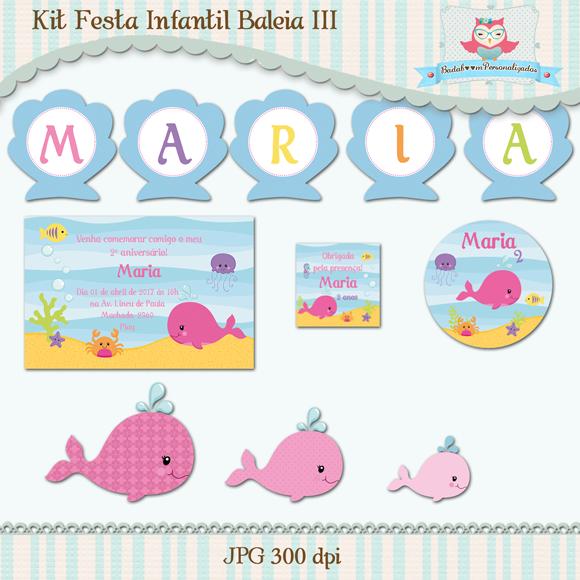 Kit de artes digitais para festa infantil no tema Baleia