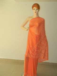 Lucknowi Chikan Georgette Orange Saree