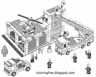 Fire station earning drawing for kids free coloring pages city Lego minifigure clipart black & white