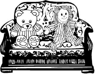 ספה עם דובי ובובה
