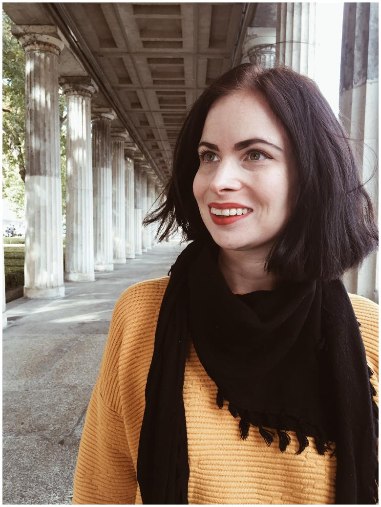 BERLIN - MUSEUM ISLAND   June Gold wearing a yellow H&M jumper, dark grey H&M jeans & black Lemon Jelly Chelsea Boots
