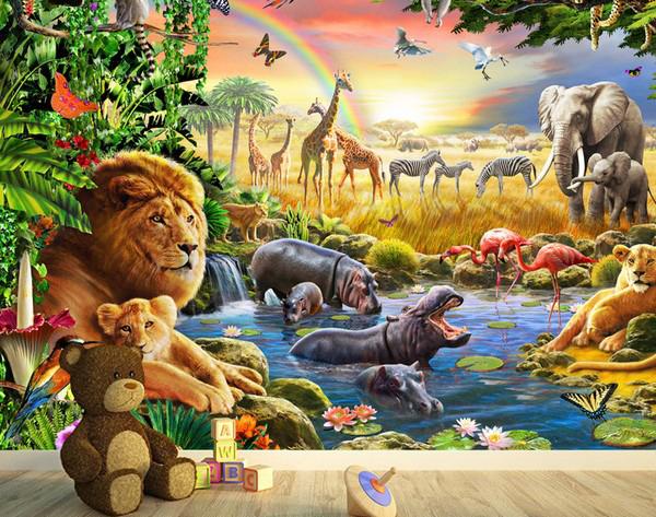 Tapetti Lastenhuoneeseen 3D Lasten Tapetti Eläimet Viidakko