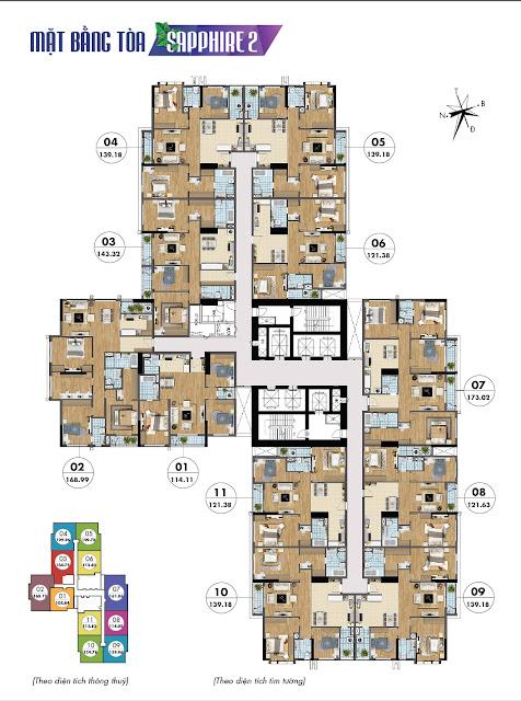 Mặt bằng tầng căn hộ điển hình Sapphire 2 Goldmark City