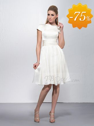 Bateau Neckline Short Sleeves Knee Length Zipper-Up Formal/Bridesmaid Dress