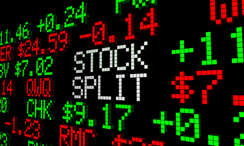stock split concept stock prices on LCD