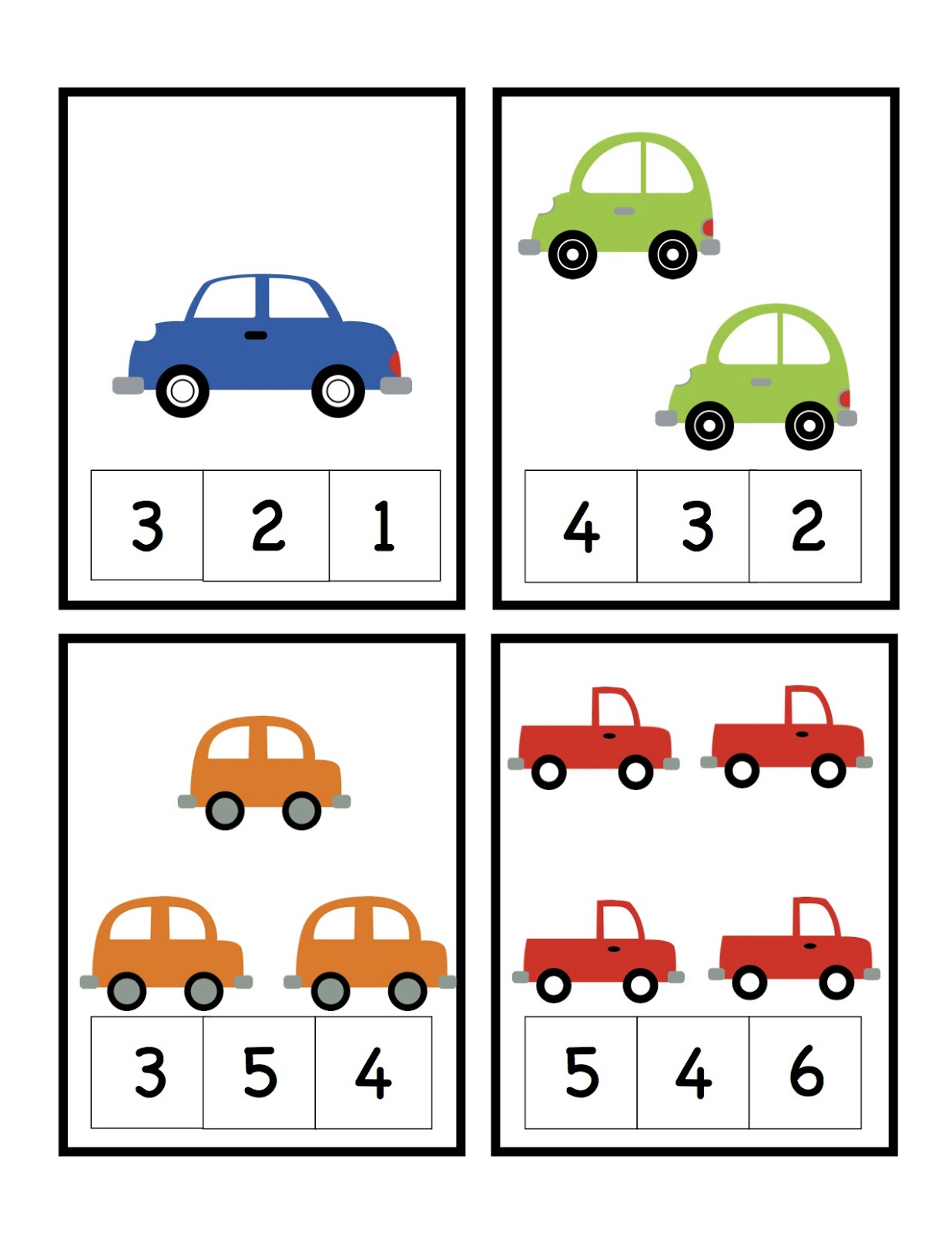 Car Number Cards Preschool Printables