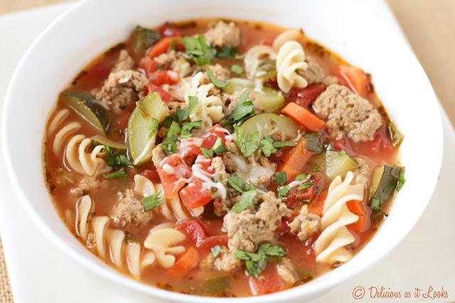Low-FODMAP Italian Turkey Sausage Soup {Gluten-Free}  /  Delicious as it Looks