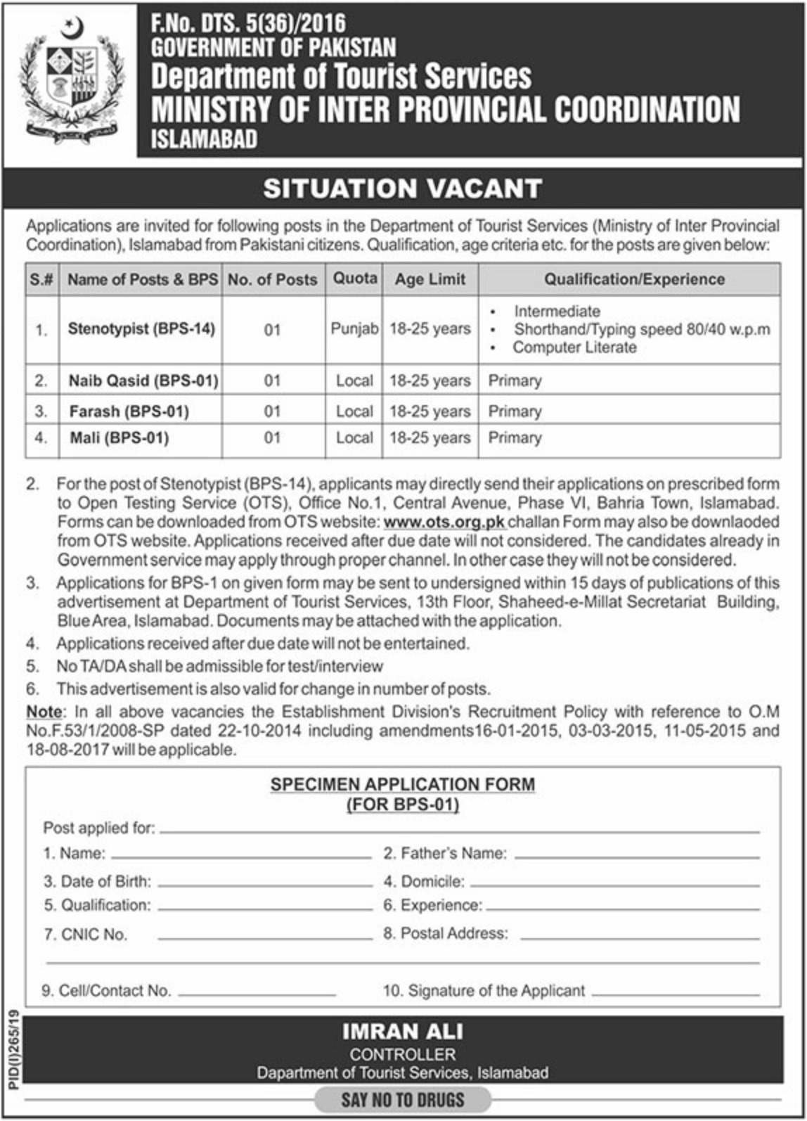 Department Of Tourist Services Jobs 2019