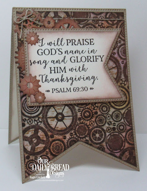 ODBD God Verses 2, ODBD Custom Large Banners Dies, ODBD Custom Steampunk Gears Dies, Artistic Outpost Vagabond Treasures Paper Collection, Card Designer Angie Crockett