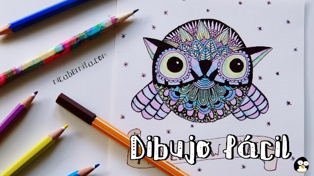 Dibujo de animales: búho con zentangle art
