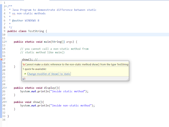 cannot call a non-static method from static in Java
