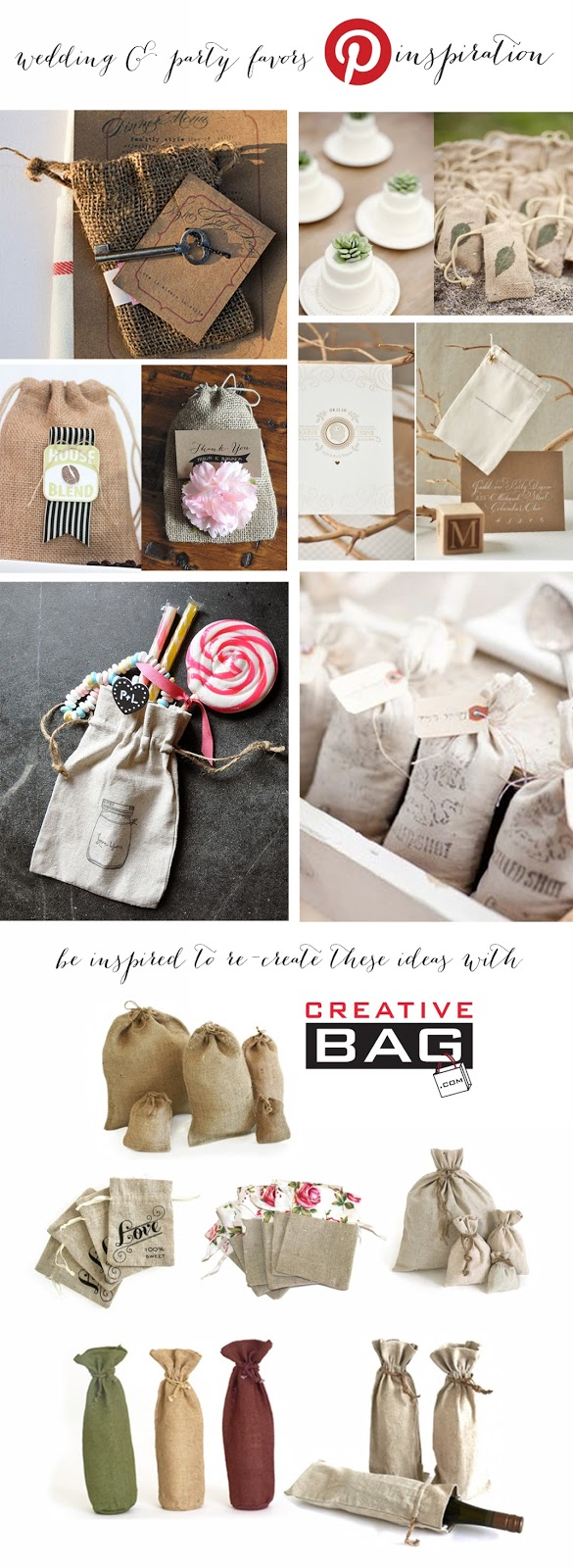 wedding and party favor inspiration using burlap and line  from Creative Bag