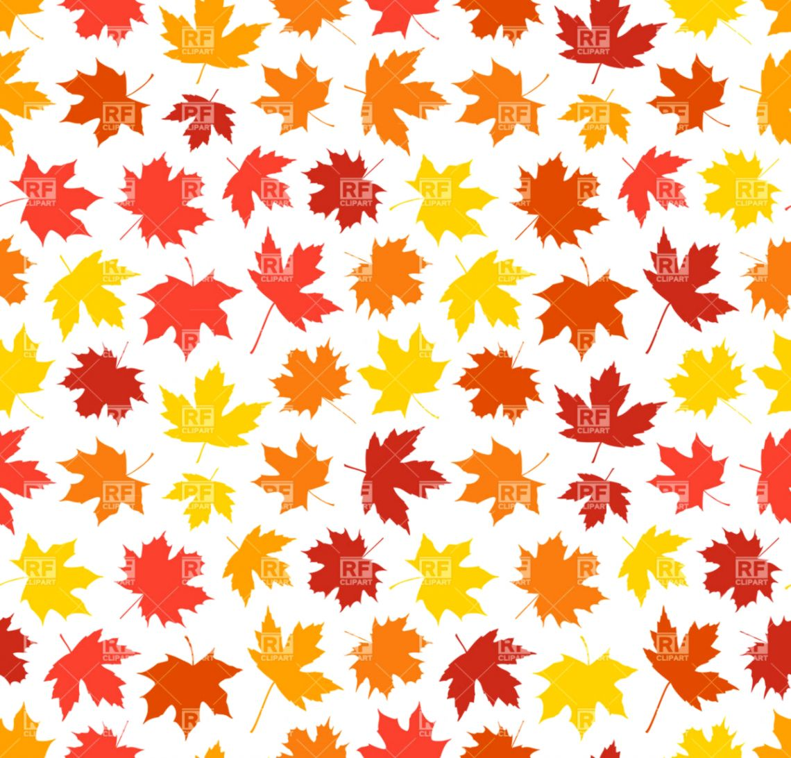 hight resolution of seamless autumn background with maple leaves silhouettes vector