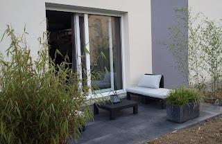 terrasse design carrelage grès cerame 20mm noir anthracite