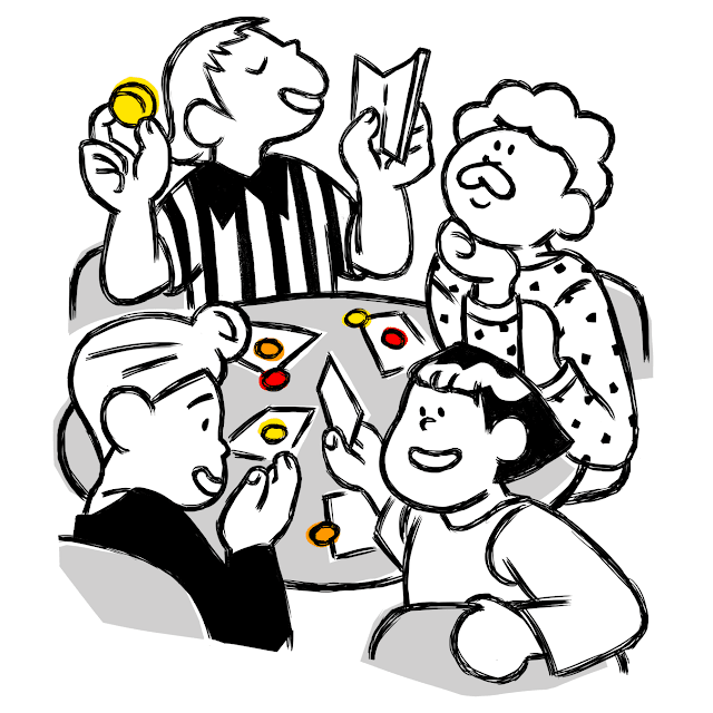 A cartoon of four people at a table with tokens and cards, animatedly talking.
