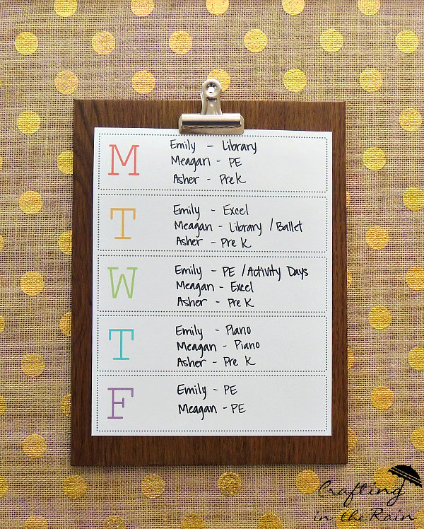 Schedule Wall with Printable Calendar Crafting in the Rain