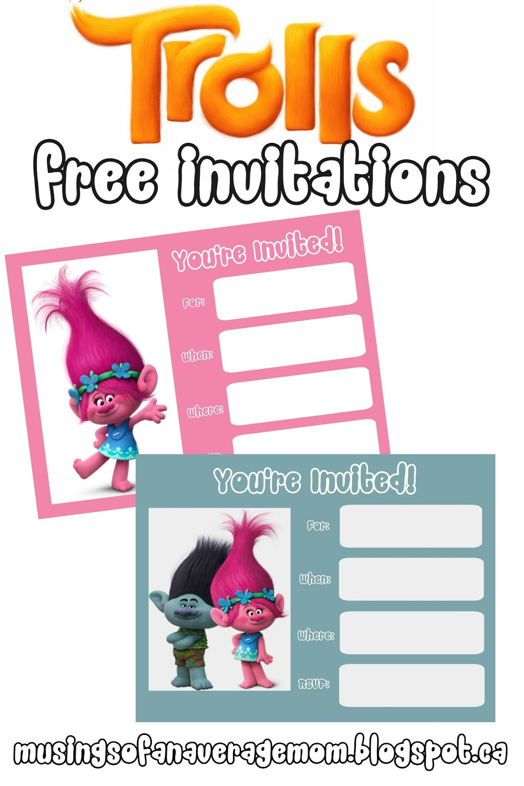 Musings Of An Average Mom Trolls Movie Invitations