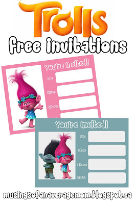 Trolls Movie invitations