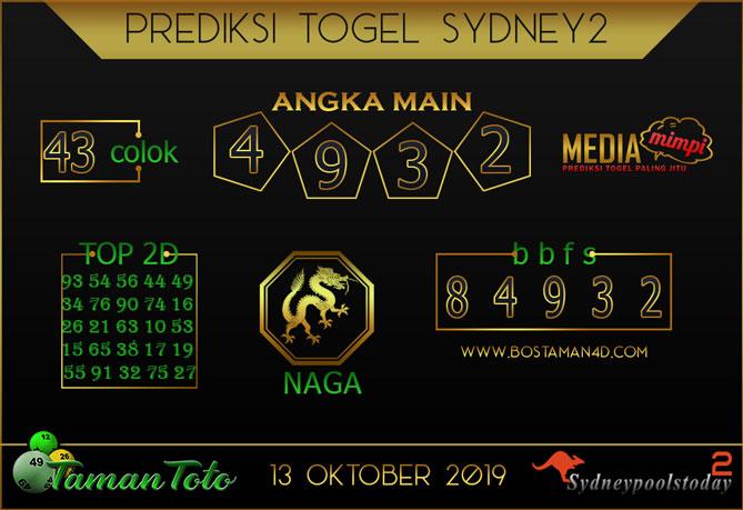 Prediksi Togel SYDNEY 2 TAMAN TOTO 13 OKTOBER 2019