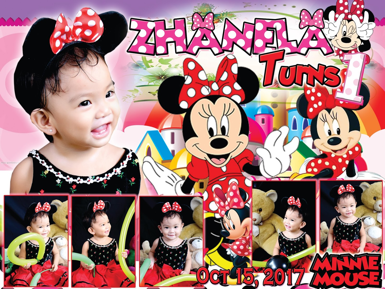 Minnie Mouse Sample Tarpaulin Design For First Birthday