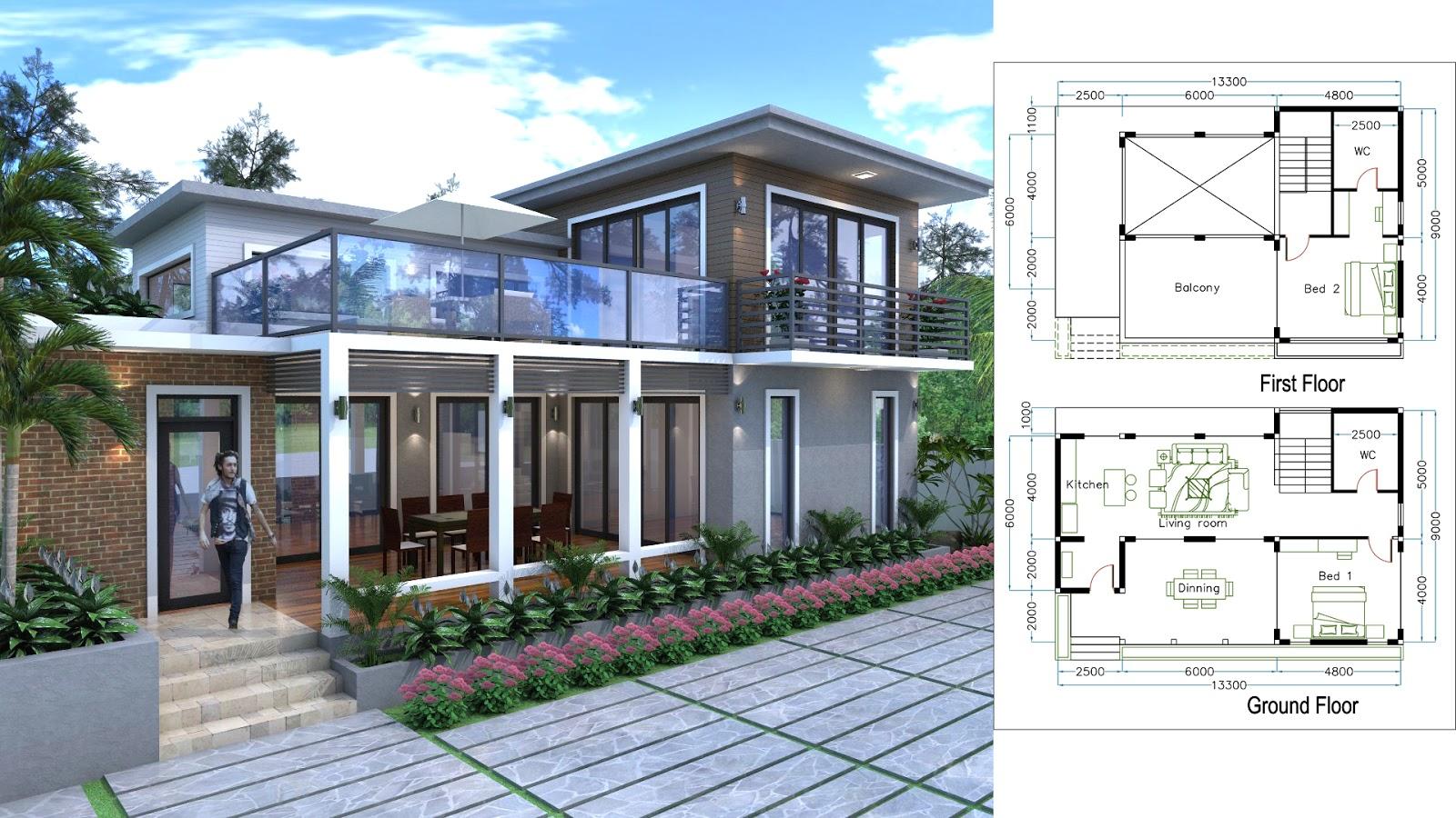 Sketchup drawing villa design size 2bedroom sam for Sketchup design