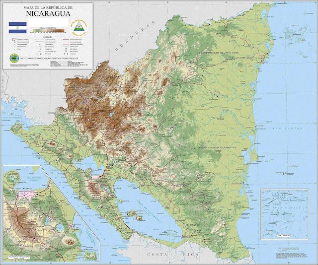 Mapa do relevo da Nicarágua