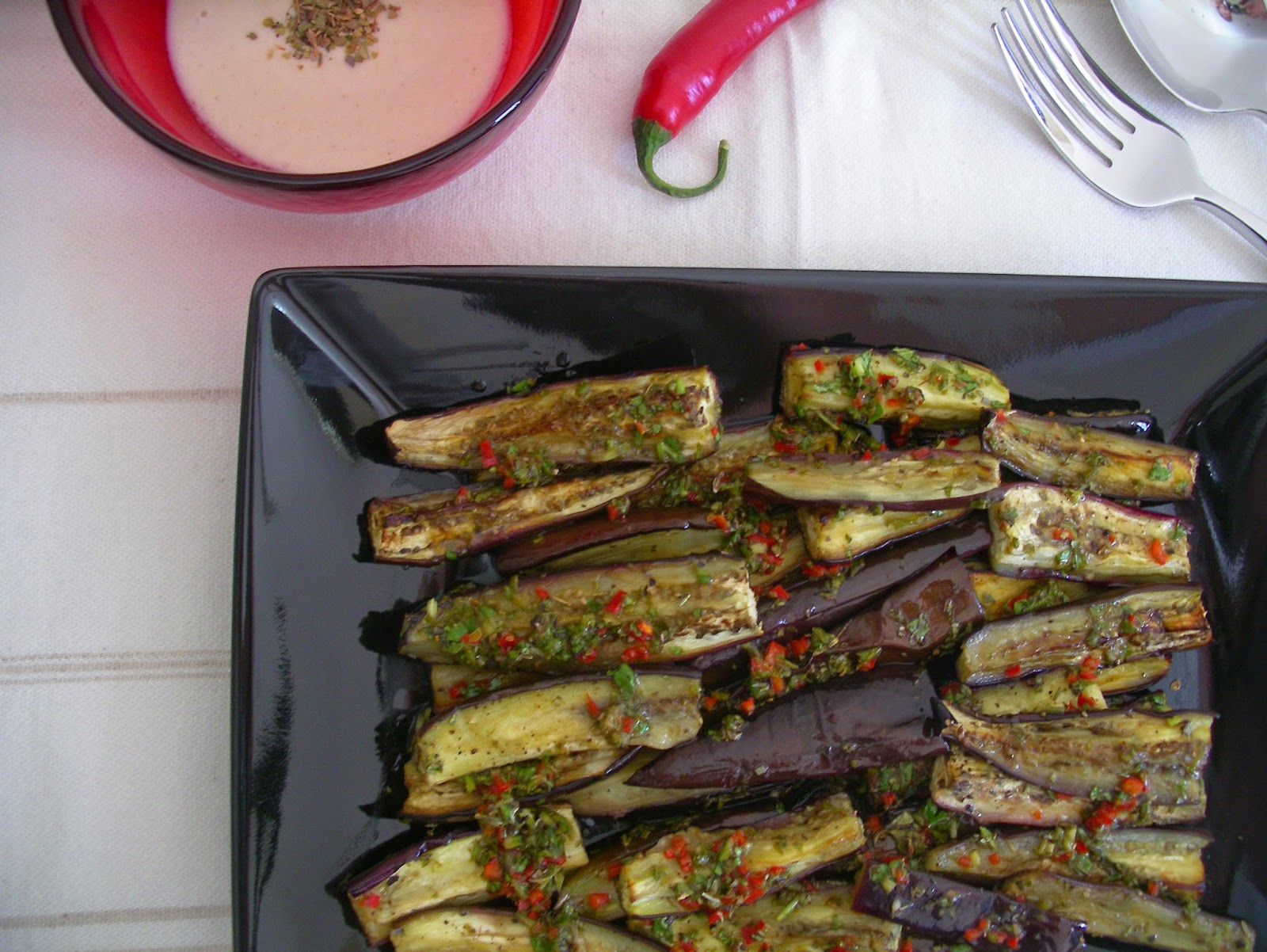 Marinated eggplants with tahini and oregano